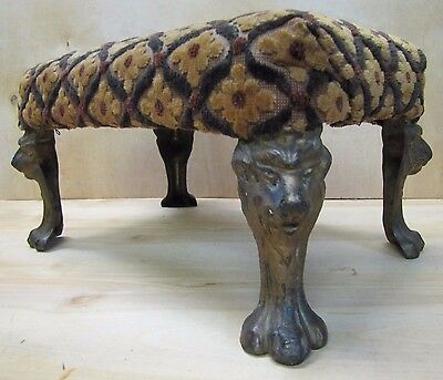 Antique Footstool with Cast Iron Lions Heads and Paw Feet orig old gold paint