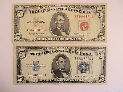Lot of 2 $5 Notes, 1 1963 US Note, 1 1934 D Silver Cert #2