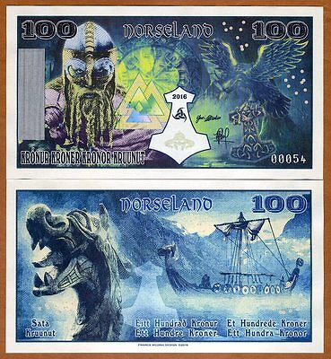 Norseland, 100 Kronur 2016, Private Issue, UNC Viking, Thor Hammer, Dragon