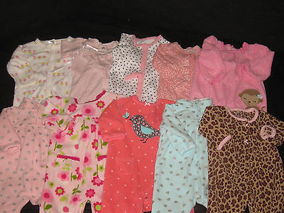 Baby Girl 3 & 3-6 Month Rompers One Piece Outfits Lot Fall Winter Clothes Lot