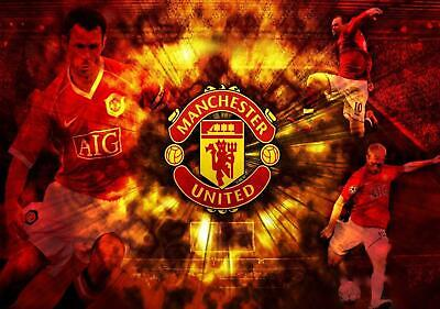 Manchester United players colour logo wallpaper poster A2, A1, A0 sizes