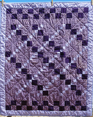 Purple and Lavender Diamond Quilt measures 41 by 32