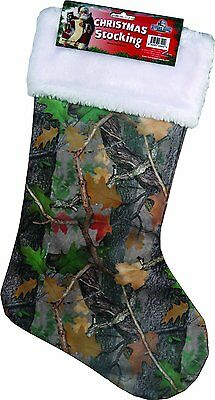 "Camouflage Stocking Christmas Camo 20"" Fall Transition New White Trim"