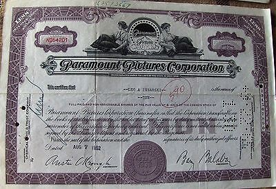 USA stock certificate Paramount Pictures Corporation issued in 1950's-1960's