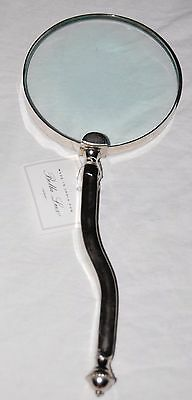 New Bella Lux Heavy Magnifying glass stainless steel Groove Handle Large 4""