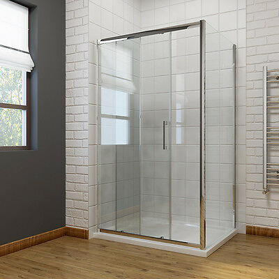 sliding door shower enclosure and tray free waste side panel 8mm NANO slef glass