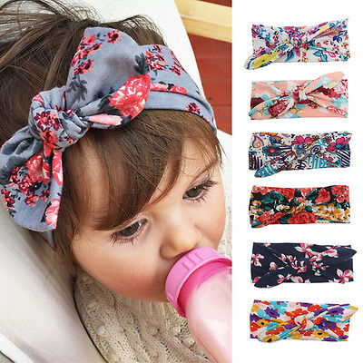 Kids Girl Baby Infant Flower Rabbit Hairband Headband Bow Turban Knot Headwear