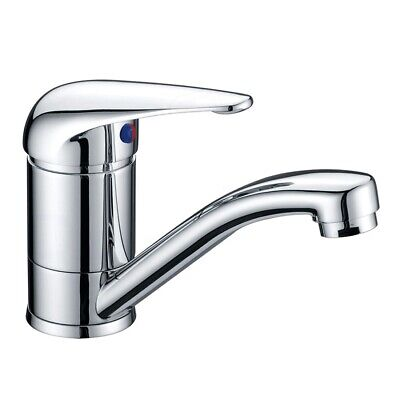 Swivel Standard Round Flick Basin Sink Vanity Mixer Tap Faucet Solid Handle
