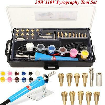 30w 110V PYROGRAPHY TOOL WOOD BURNING LEATHER CRAFT DRAWINGS SET 20 Tips