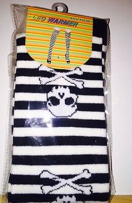 White And Black Striped With Skull/Bone Design Leg Warmers