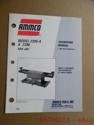 1991 AMMCO Model 2295-A & 2296 RAK-JAK Operations Manual Alignment Vintage ORIG