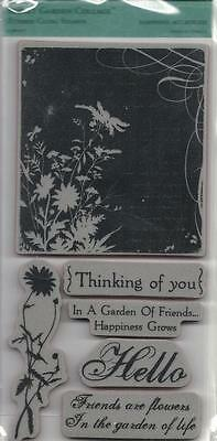 TPC Studio Rubber Cling Stamps SECRET GARDEN COLLAGE Thinking of You Friends