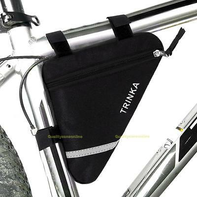 Waterproof Triangle Cycling Bike Bicycle Front Tube Frame Pouch Saddle Bag Black