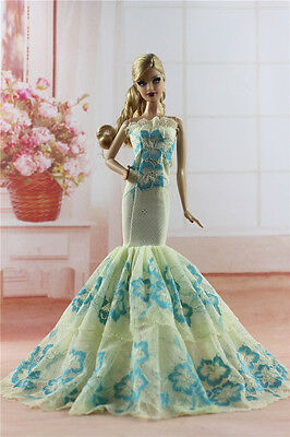 Royalty Mermaid Dress Party Dress/Wedding Clothes/Gown For Barbie Doll H04U