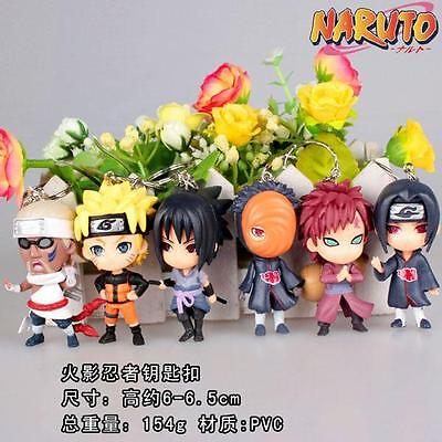 6pcs Naruto PVC figure Keychain Key Ring Pendant Anime Cosplay Gift