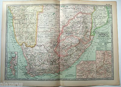 Original 1902 Map of Southern Africa by The Century Company