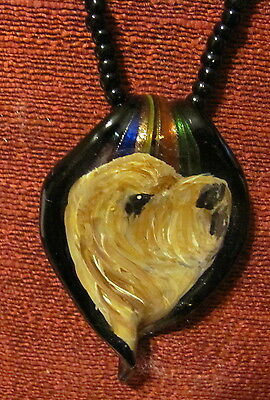 Otterhiound handoaue painted on glass leaf pendant/bed/necklacde