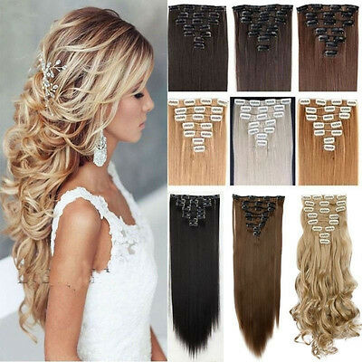 100% Real Thick Hair Extensions Clip in on Hair Extension Full Head as human ddg
