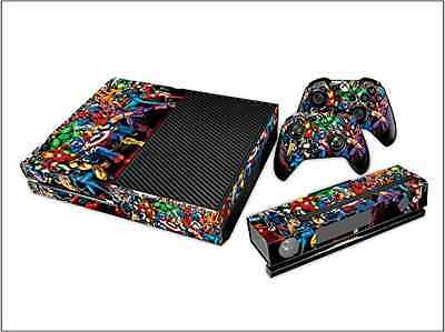 Xbox One Console Marvel Skin Decal Vinal Sticker + 2 Controller Skins Set