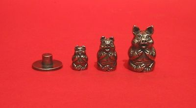 Pig Russian Doll Pewter Thimble Stacking Dolls Set Collectible Thimbles NEW
