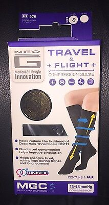 Neo G Travel and Flight Graduated Compression Socks  Unisex - Black size small