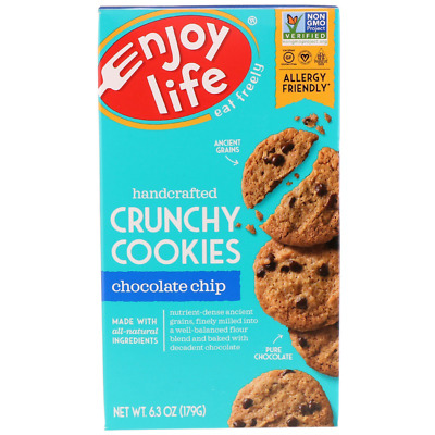 New Enjoy Life Foods Handcrafted Crunchy Cookies Chocolate Chips Gluten Free