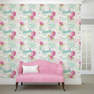 Floral Rose Postcard Wallpaper Rolls - Muriva 601520 New