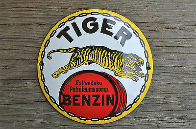Superb heavy quality enamel advertising sign Tiger benzin round wall plaque