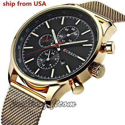 CURREN Men's Stainless Steel Mesh Band Analog Date Sport Quartz Wrist Watches