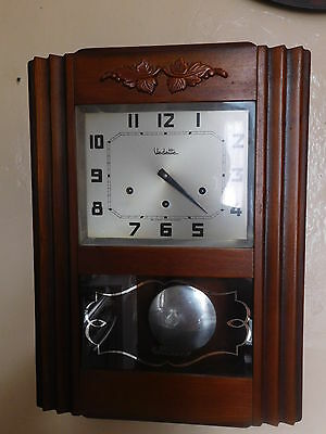 Antique French Vedette Chime Wall Clock  Made Circa  1950 8 Gongs 8 Hammers