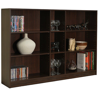 QUIRK - 3 Tier Wide Bookcase / Display / Storage Shelves - Walnut YRGS915BR