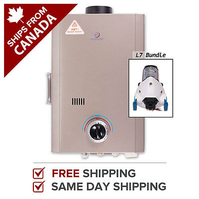 Tankless Water Heater Outdoor Propane Gas Eccotemp L7 Bundle w/ 12V Pump