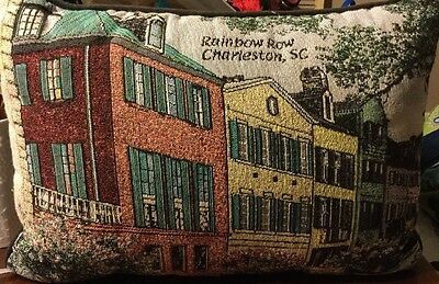 Rainbow Row Charleston SC Rectangular Pillow 17 x 11