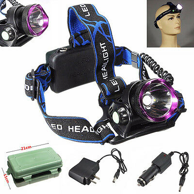 Waterproof 10000Lm XM-L T6 LED Headlamp Headlight Rechargeable+Charger+18650+Box