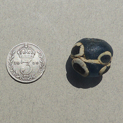 an ancient islamic blue glass eye bead with cane inserts mali #37