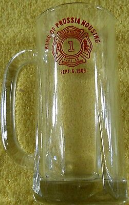 King of Prussia Fire Company Pennsylvania Glass Beer Soda Mug Housing 1969