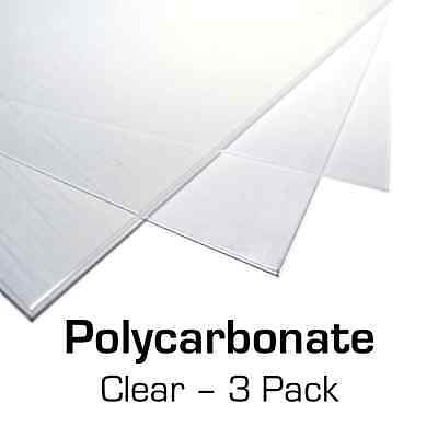 "Polycarbonate Plastic Sheet 3-Pack 12"" X 24"" X 0.0625"" (1/16"") for VEX Robotics"
