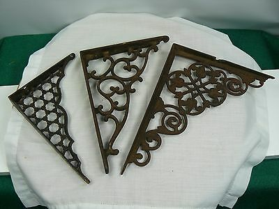 Lot of 3 different Antique Ornate CAST IRON SHELF BRACKETS
