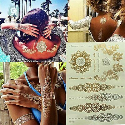 Sexy Gold Silver Flash Metallic Temporary Tattoo Stickers Festival Hair Body Art