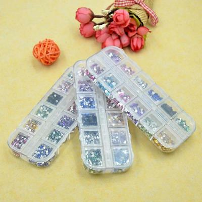 12 Compartment Clear Empty Storage Case Box for Nail Art Tips Rhinestones