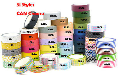 Premium Washi Masking Tape Collection Decorative DIY Scrapbooking Tape