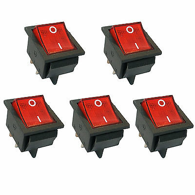 5 pcs 4 Pin DPST ON/OFF Mini Boat Car Rocker Switch Button 250V Red LED US Stock