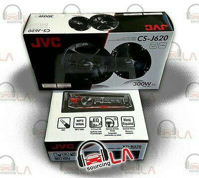 """PACKAGE JVC KD-R370 1DIN CAR AUDIO CD AUX STEREO + 2 x 6.5"""" CAR SPEAKERS"""