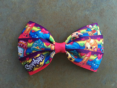 Shopkins Hair Bow with Alligator Clip - 4 Diff Ribbons