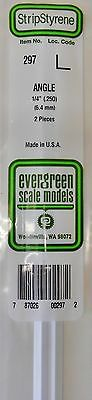 "Evergreen Strip Styrene 297. 2 Pieces. 1/4"" Angle"