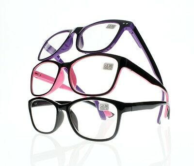 Women Big Oversized Square Double Colors Frame Readers Reading Glasses +1.0~+4.0