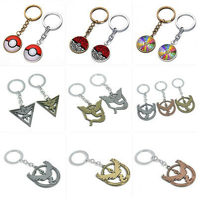 Cartoon Anime Pokemon Pokeball Dangle Charm Retro Keychain Key Chain Ring Gift