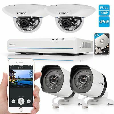 Zmodo 8CH NVR 8 1080p IP Network sPoE Outdoor Home Security Camera System