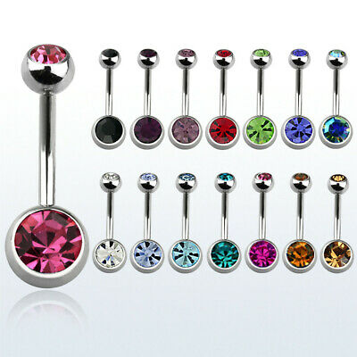 Piercing Ombelico Navel Belly Ring Acciaio Chirurgico Doppio Brillantino