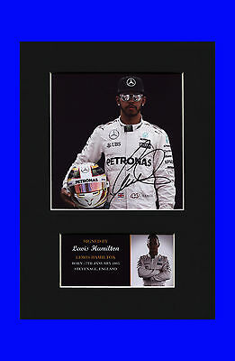 Lewis Hamilton F1 motorsport Quality signed Mounted Pre-Print 12 x 8.2